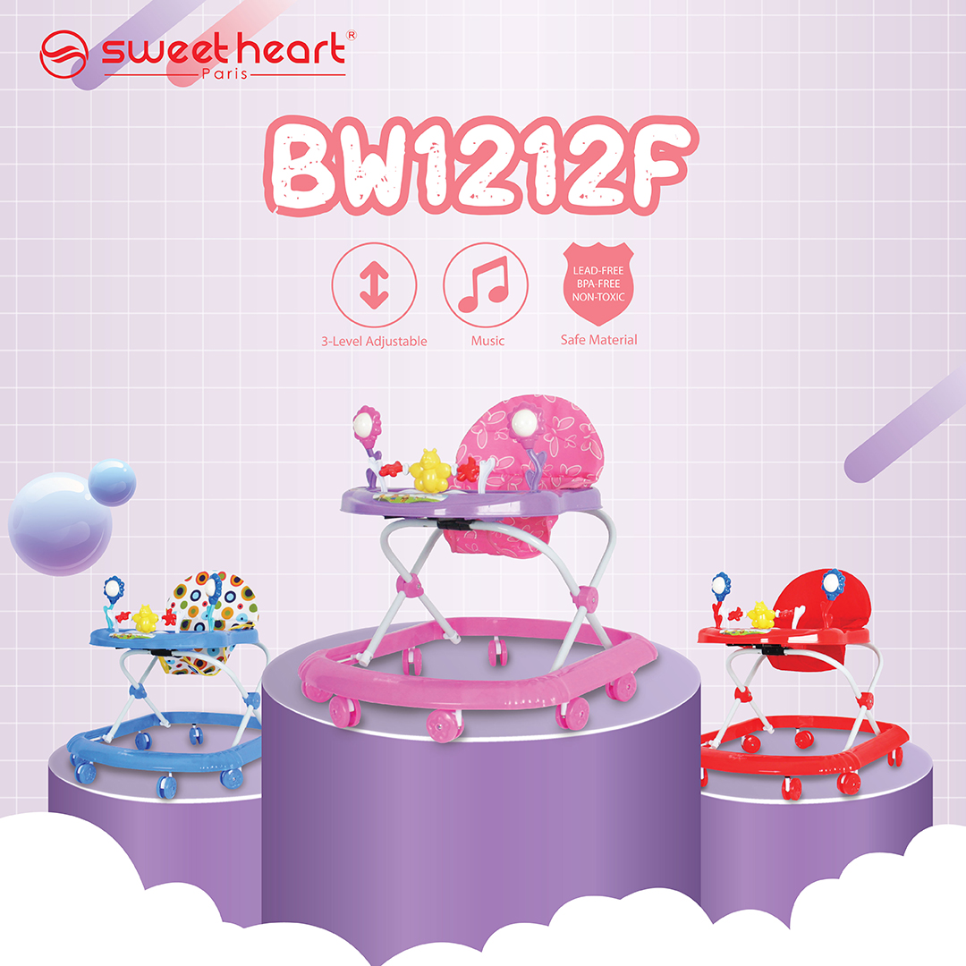 Sweet Heart Paris Baby Walker with Cute Toys Music Activity Tray Buttons BW1212F (Blue)