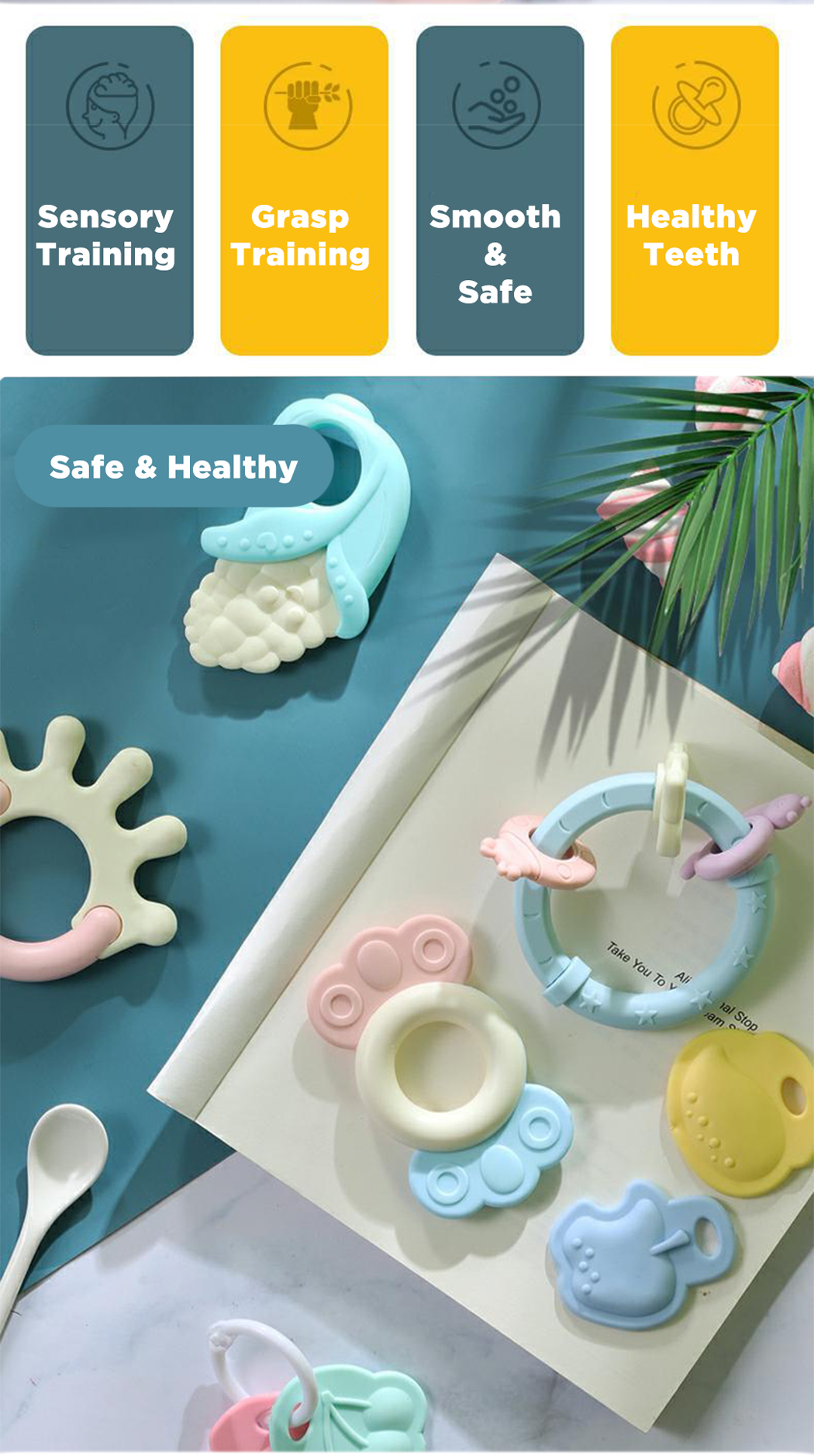 Iguana Online BPA Free Lead Free Safe Baby Soft Rattle Teether Toys for Newborn RT78912