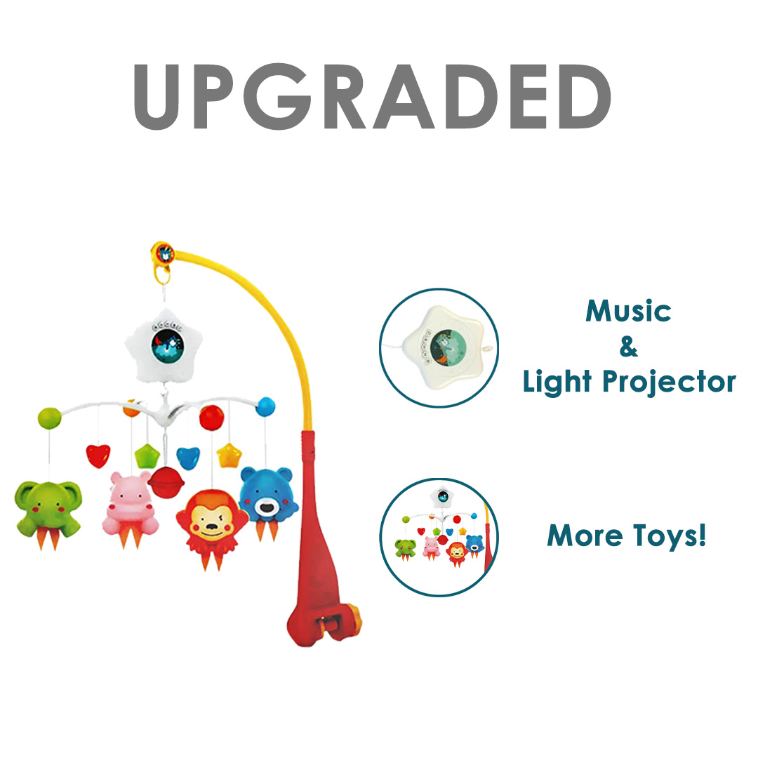 Iguana Online Hanging Cute Toys Music Box Projection Bed Bell Crib Toys Sleep Tight BED9308 (Upgraded)