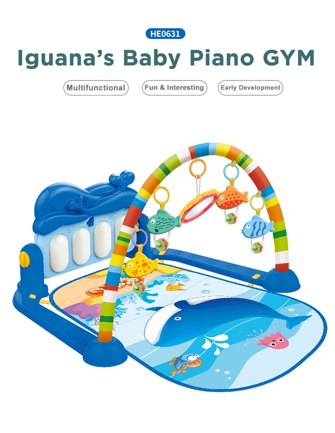 Iguana Online Musical Environmentally Friendly ABS Baby Piano Gym Mat with Lights BGM631 (Blue)