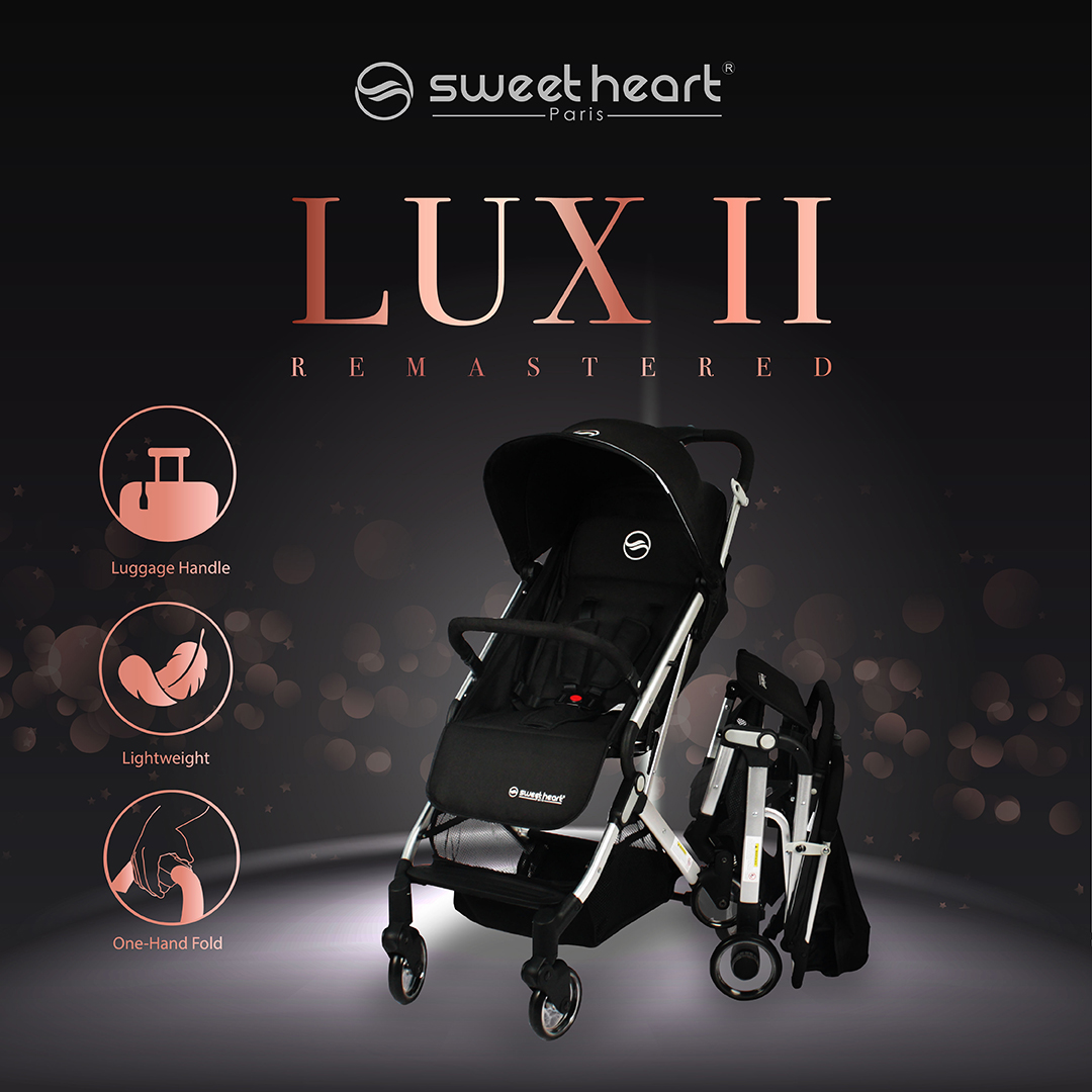 Sweet Heart Paris Stroller Compact ST LUX 2 with Pull-up Luggage Handle (Blue)