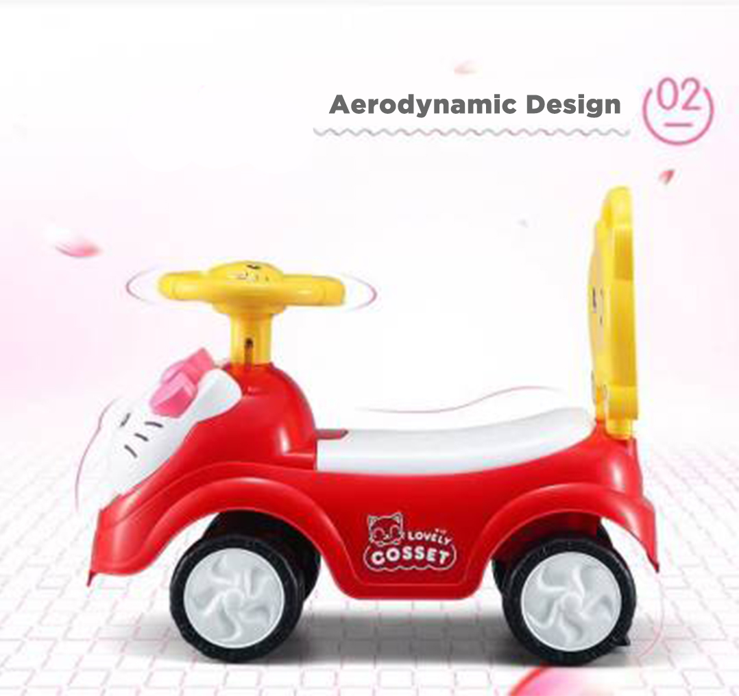 Iguana Online Cute Kitty Cat with Smart Educational Steering Wheels Ride On Car Tolo Car TL3811 (Red)